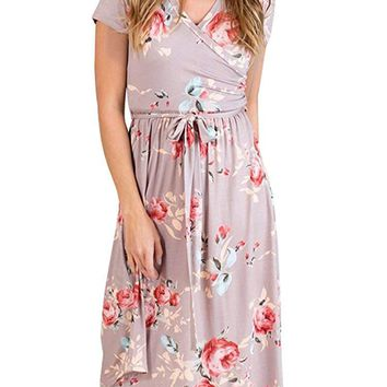 Foshow Womens Short Sleeve Dresses Floral Empire Waist Midi Vintage Summer Dress with Pockets