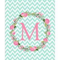 Personalized Pocket Folder Garden Party Initial and Ikat Chevron