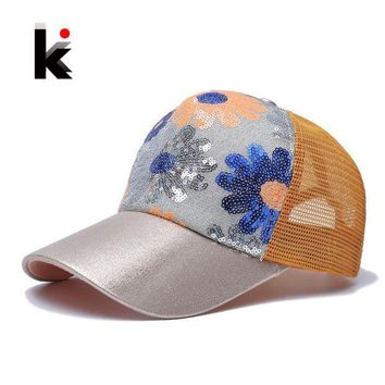 PEAPU3S Girl's 5 Panel Trucker Cap Drake Sun Breathable Hat Summer Baseball Cap Sequins Flashes Sunflower Hats For Women