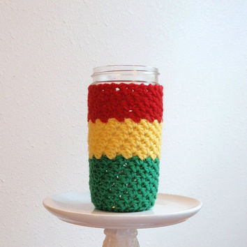 Mason Jar Cozy / BOB MARLEY / Pint and a Half Size 24 oz. / Red, Yellow, Green, Summer, Cold, Hot Drinks / Beach Drink Holder