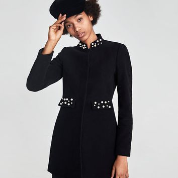 MOLESKIN FROCK COAT WITH PEARL BEADS DETAILS