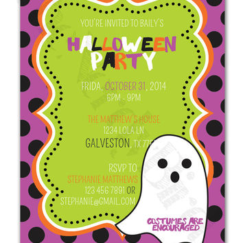 Polka Dot Ghost Halloween Party Design Printable invitation