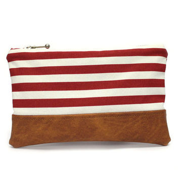 Red White Striped Pouch, Vegan Purse Bag, Small Clutch Bag, Red Zipper Pouch, Small Stripe Purse, Nautical Purse, Small Cosmetic Case