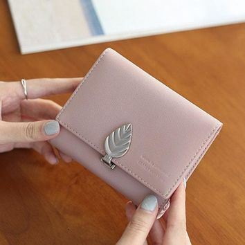 Women PU Leather Leaves Shape Wallet Purse Cute Coin Bags