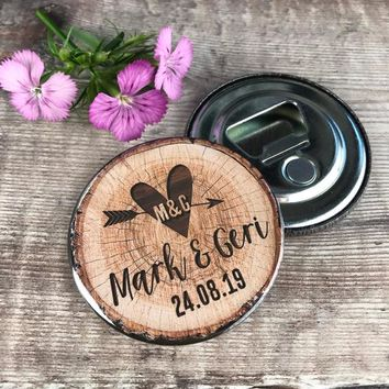 Wedding Favour Bottle Openers (Fridge Magnets) - Woodland Tree Stump Slice Design Complete With Organza Bags