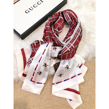 GUCCI Trending Women Comfortable Plaid Silk Kerchief Cape Scarf Scarves Red