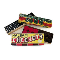 HALSAM Wood Dominoes and Checkers Boxed Sets