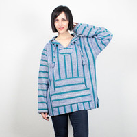 Vintage Baja Poncho Blue Green Striped Baja Hoodie Drug Rug 1990s Pullover 90s Jacket Skater Surfer Hippie Grunge Coat L Extra Large XL