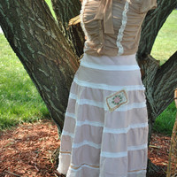 Tiered Light Tan Skirt Lace Crushed Toulle and Roses Shabby Tattered