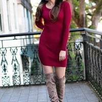 Never Ordinary Ribbed Sweater Dress in Burgundy