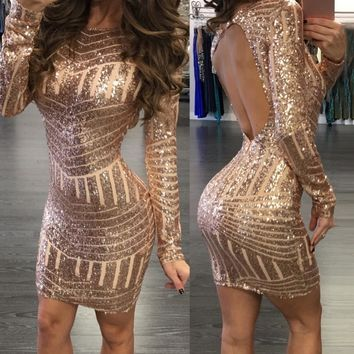 Sequins Dress Women Sexy Fashion Long Sleeves Backless