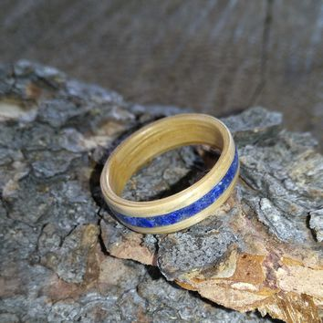 Lapis lazuli and Oak single inlay Bentwood Ring