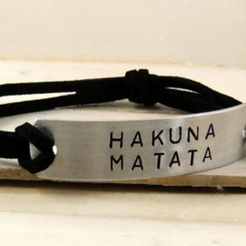 HAKUNA MATATA Quote Bracelet, Leather Bracelet, Stamped Bracelet