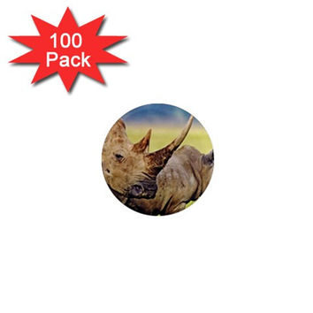 "Wild African Rhino Pair Animal Lover 1"" Mini Magnet (100 pack)"