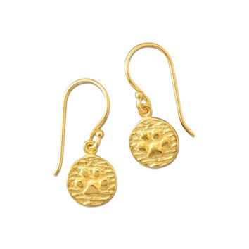 14K Gold Plated Paw Print Drop Earrings