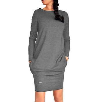 Women Winter Autumn Women's Long Sleeve Warm Sweater Dress Short Mini Solid Dresses