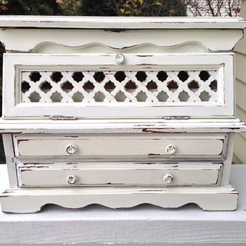 vintage jewelry armoire box, shabby chic white, large