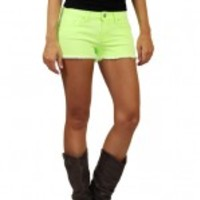 Neon Lime Denim Shorts