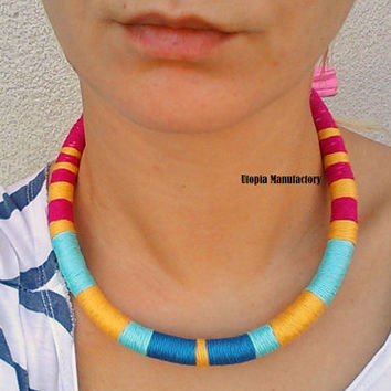 Thread Necklace, Choker Necklace, Chokers, African Necklace, Tribal necklace, African jewelry, Thread Wrapped Necklace, Gift For Her