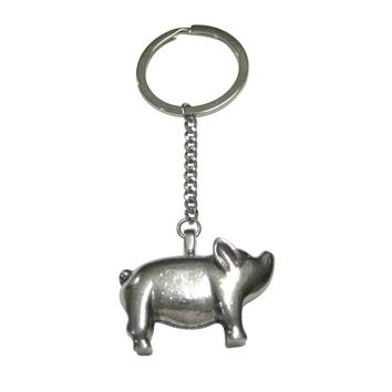 Silver Toned Round Fat Pig Pendant Keychain