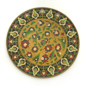Vintage 70s Boho Chic Cloisonne Enamel Wall Hanging - Decorative Broze Indian Floral Motif Plate in Gold Black Green Red Jewel Tone Plaque