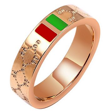 GUCCI rose gold high end temperament diamond - shaped red - green ring