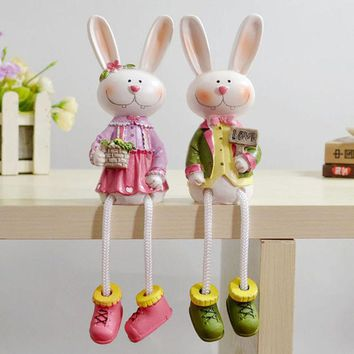 ONETOW Home Decor Decoration Resin Animal Dolls Rabbit Set [4918499268]