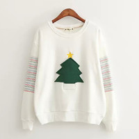 White Christmas Tree Sleeve Stripe Sweatshirt