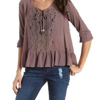 Tie Front Peasant Top with Lace & Ruffles by Charlotte Russe
