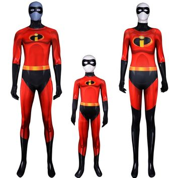 High quality The Incredibles 2 men/Women/kids Cosplay Costume Lycra Spandex Zentai Bodysuit and Eye mask party fancy Halloween