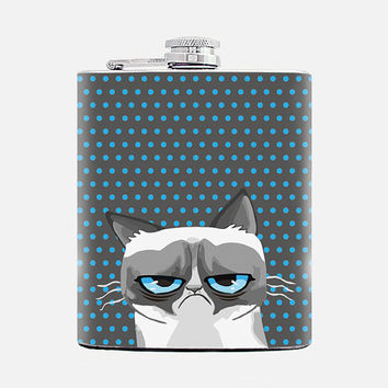 Flask Grumpy cat Flask for women Birthday gift Tard Gray 7 oz