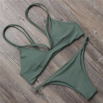 Solid Halter Bandage Swimsuit Bikini Set For Women