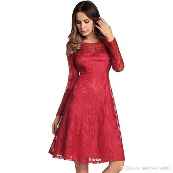 New Blue Red Black Casual Dress Women A line Rockabilly Swing Wedding Lace Ladies Dress Elegant Vintage Long Sleeve Dress plus size DK5551HY