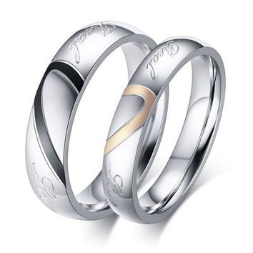 Titanium Steel Half Heart Simple Circle Real Love Couple Ring For Men Women Wedding Engagement Promise Rings