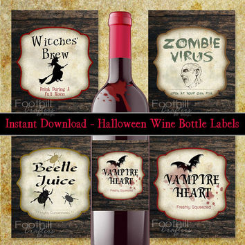 PRINTABLE Wine Labels, Halloween Spooky Labels, Print Cut and Paste To Wine Bottle For Unique Holiday Gift, Use At Costume Party