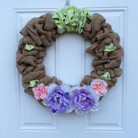 Shabby Chic Spring Burlap Wreath with Pink & Green Flowers and Green Accent ; Summer Burlap Wreath ; Apple Blossom Wreath ; Mother's Day