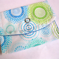 Womens card wallet, girls business card wallets, retro mod gift card holder, sunburst small coin purse, blue green yellow teal white