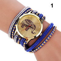 Unique Design Women Elephant Dial Rhinestones Rivets Multi Layers Faux Leather Wrap Wrist Watch SYH (With Thanksgiving&Christmas Gift Box)= 1956690244