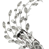 Bridal Mesh Leaves Crystal Floral Hair Piece Comb Silver-Tone Clear