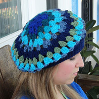 Handmade Crochet Beret, Blues and Greens Assorted Hat, Slight Slouchy Beret B-3