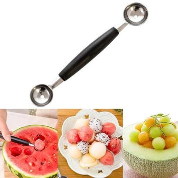 NEW Stainless Steel Double-End Melon Ice Cream Baller Scoop Fruit Spoon Kitchen Tool