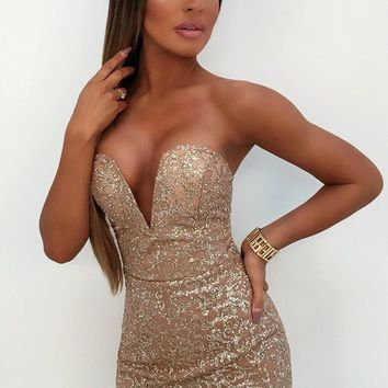 Into The Glitz Gold Glitter Strapless Plunge V Neck Bodycon Mini Dress