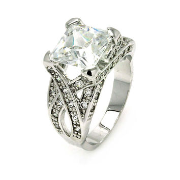 Ladies Jewelry Cris Cross Princess Cut Center Cubic Zirconia Rhodium Plated Brass Ring Stone Size: 9.1 mm: Size: 5