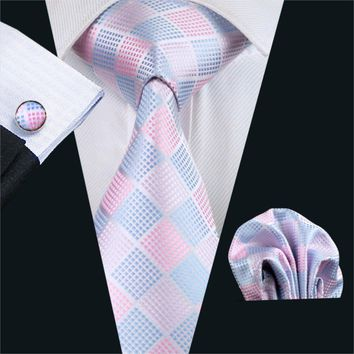 FA-1028 Gents Necktie Pink Plaid Barry.Wang Silk Jacquard Tie Hanky Cufflinks Set Men's Business Gift Ties For Men Free Shipping
