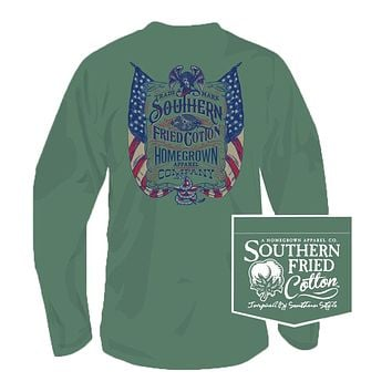 Live Free Long Sleeve Tee in Sea Grass by Southern Fried Cotton