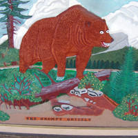 The Grumpy Grizzly Bear 3D Painting on Textured Sculpted Leather Framed Wall Art Hanging Signed Robert J. Ruppert 1995