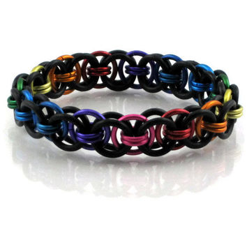 Rainbow and Black Helm Chain Maille Stretchy Bracelet