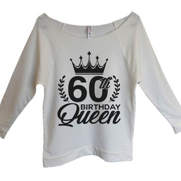 60th birthday Queen Womens 3/4 Long Sleeve Vintage Raw Edge Shirt