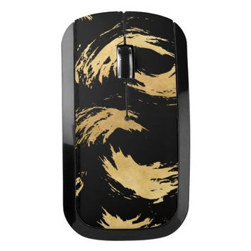 Glam Gold Brush Strokes Wireless Mouse