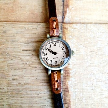 Black leather wrist wrap watch, Vintage Leather Watch, Classic wrap around leather Watch